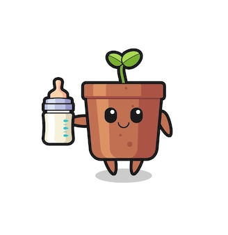 Baby plant pot cartoon character with milk bottle , cute style design for t shirt, sticker, logo element