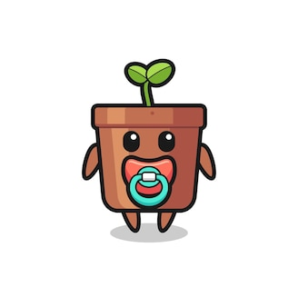 Baby plant pot cartoon character with pacifier , cute style design for t shirt, sticker, logo element