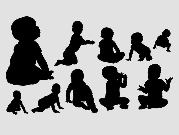 Baby playing and crawling silhouette