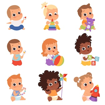 Baby playing. cute little kids newborn 1 years baby characters eating and sitting with toys happy childhood vector cartoon. illustration newborn playing with rocket and cubes