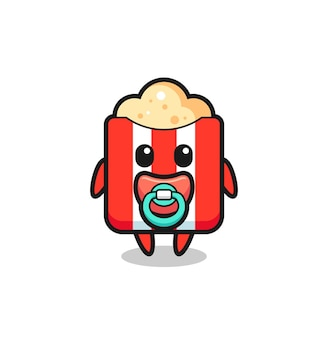 Детский персонаж мультфильма попкорна с соской, милый стиль дизайна для футболки, наклейки, элемента логотипа