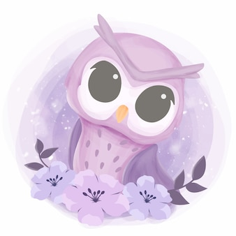 Baby pretty owl with flowers