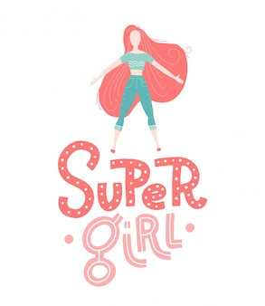 Baby print: super girl. hand drawn graphic for typography poster, greeting card, brochure, flyer, banner, baby wear, nursery. scandinavian style lettering.   illustration