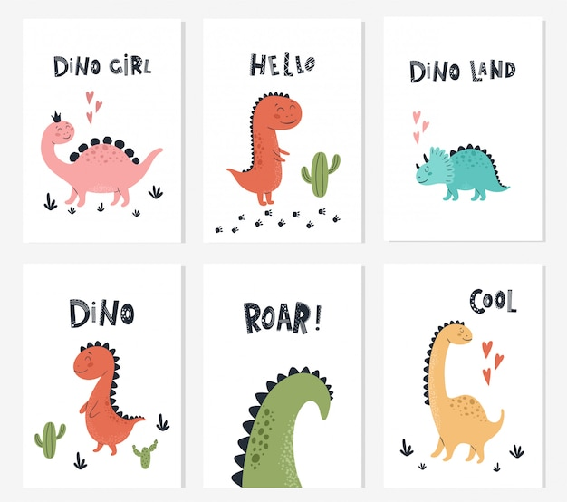 Baby print with dino and phrase dino girl, roar, hello. set of cute cards