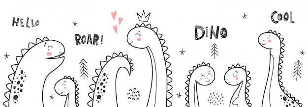 Baby print with dino and phrase dino girl, roar, hello. set of illustration