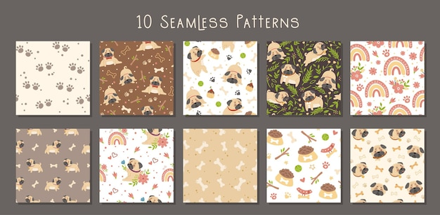 Baby pug kids seamless patterns set elements isolated