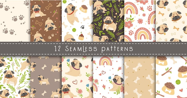 Baby pug seamless patterns set, dog or puppy and spring flowers