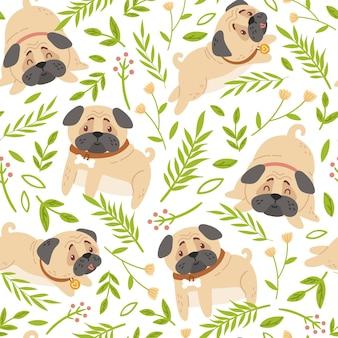 Baby pugs kids seamless pattern