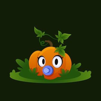 Детская тыква на траве маленький овощ осенний мультфильм овощная иллюстрация