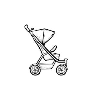 Детские коляски рисованной наброски каракули значок
