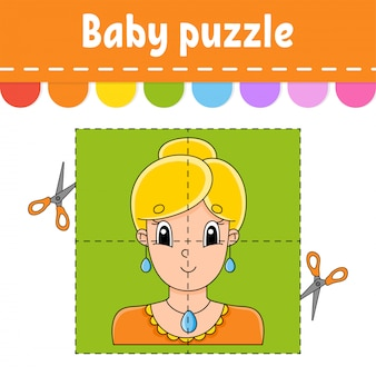 Baby puzzle. easy level. flash cards. cut and play. pleasant lovely woman.