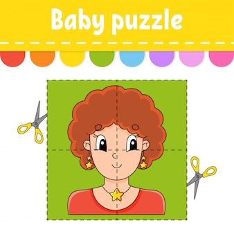 Baby puzzle. easy level. flash cards. cut and play.