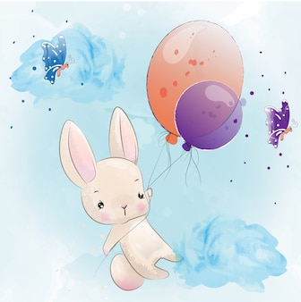 Baby rabbit cute character painted with watercolor