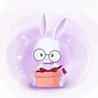 Baby rabbit get a gift box ready for open it
