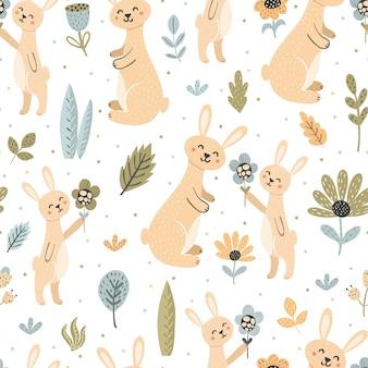 Кролик дарит маме цветок. симпатичные кролики бесшовные модели - мать и ребенок. Premium векторы