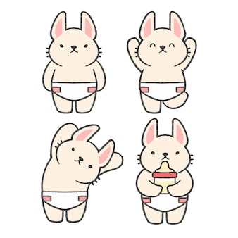 Baby rabbit hand drawn cartoon collection