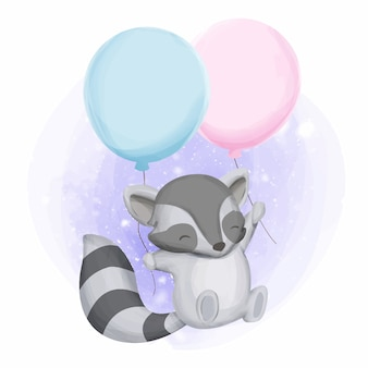 Baby raccoon and two balloon