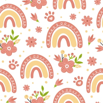 Baby rainbow and paw seamless pattern