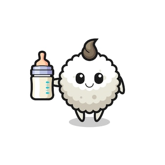 Baby rice ball cartoon character with milk bottle , cute style design for t shirt, sticker, logo element