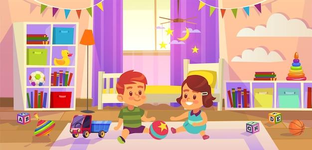 ベビールーム。子供の男の子と女の子は床で遊ぶ子供のおもちゃ、家族のライフスタイルの子供のプレイルーム、幼稚園または就学前のコンセプト。フラット漫画ベクトルイラスト