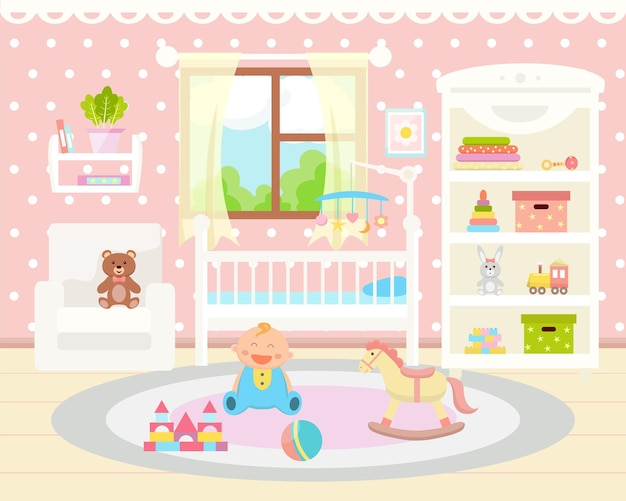 Baby room interior flat