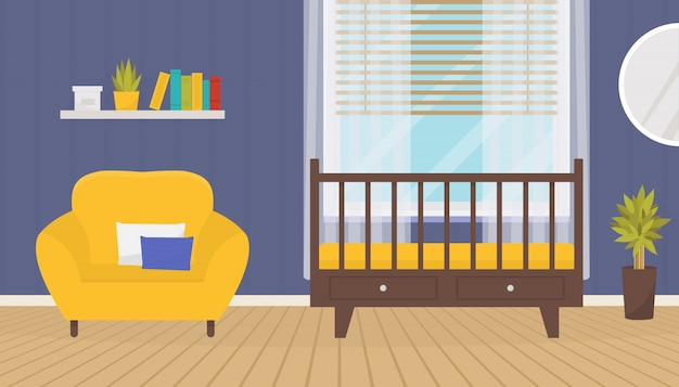 Baby room interior with crib and armchair.