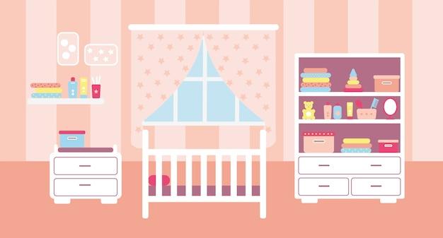 Интерьер детской комнаты с белой мебелью для девочки в плоском стиле