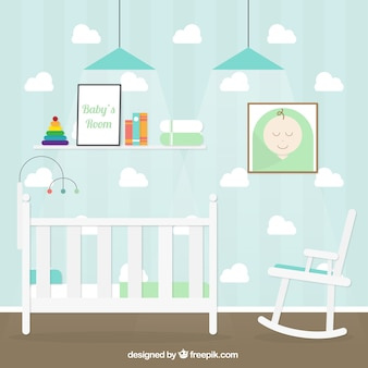 Baby room with clouds on the wall