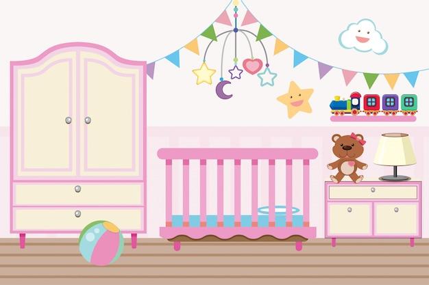 Детская комната с детской кроваткой и шкафом