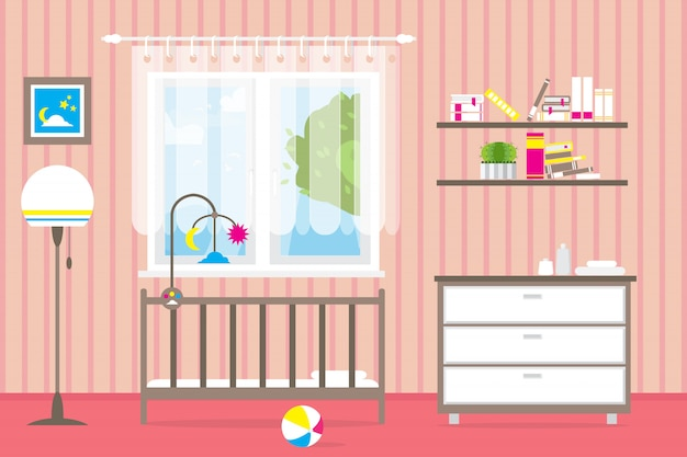 Baby room with furniture. nursery interior. window.