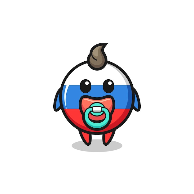 Baby russia flag badge cartoon character with pacifier , cute style design for t shirt, sticker, logo element