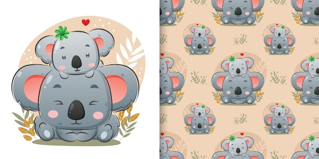 The baby's koala sitting on the big koala's head with the cute background of illustration