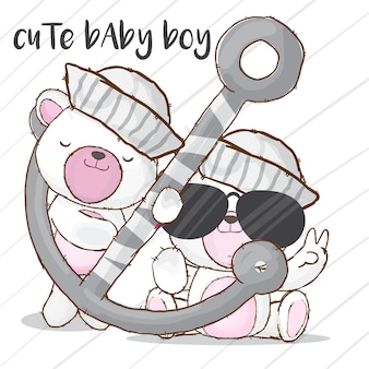 Baby sailor bear hand drawn animal-vector