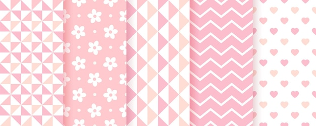Baby seamless backgrounds. pink pattern. baby girl geometric prints. vector. set of kids pastel textures. cute childish backdrop with zigzag, triangles, flowers and hearts. modern illustration.
