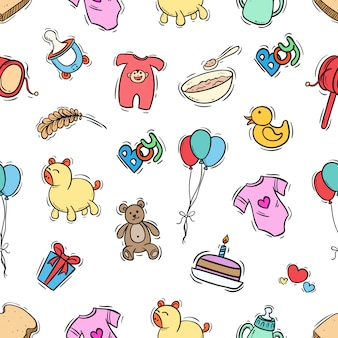 Baby seamless pattern with colored doodle style