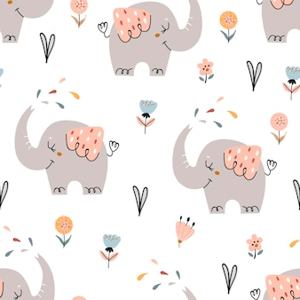 Baby seamless pattern with cute elephants. pattern for bedroom, wallpaper, kids and baby wear.