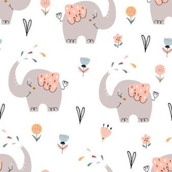 かわいい象と赤ちゃんのシームレスなパターン。寝室、壁紙、子供、ベビーウェアのパターン。