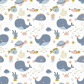 간단한 손으로 그린 스칸디나비아 스타일의 해양 생물 벡터 배경과 아기 원활한 패턴