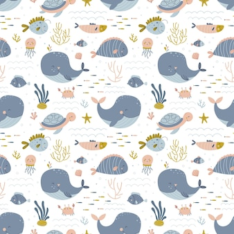 Baby seamless pattern with marine life vector background in simple hand drawn scandinavian   style