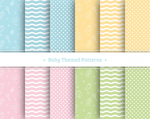 Baby seamless patterns set on pastel colors