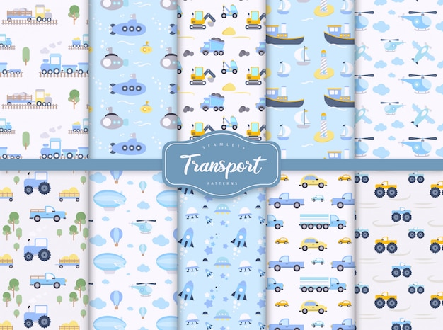 Baby seamless patterns set with toy transport
