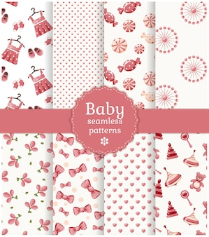 Baby seamless patterns set.