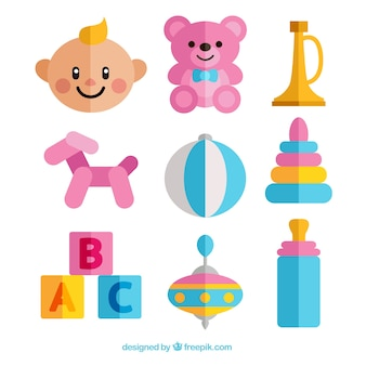 Baby set with toys in flat design