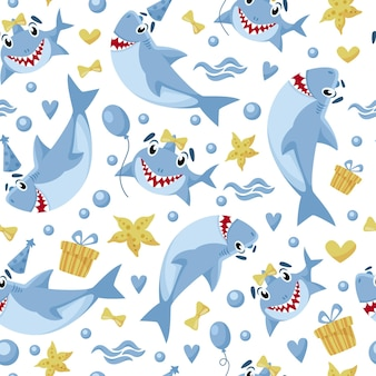 Baby shark birthday seamless pattern