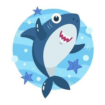 Baby shark in cartoon style concept