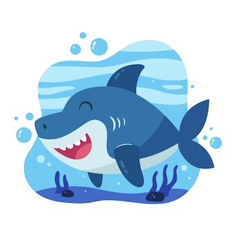 Baby shark in cartoon style concept