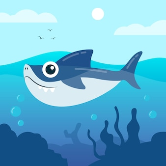 Baby shark in cartoon style design