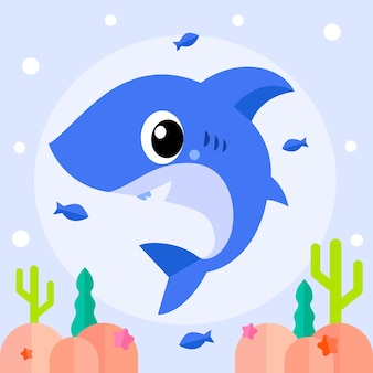 Baby shark in cartoon style