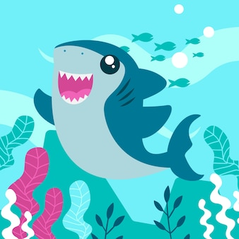 Baby shark in cartoon style