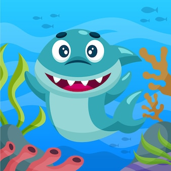 Baby shark in flat design